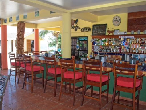 Restaurant and Bar area of Alan's Paradise Hotel, in Placencia, Belize.